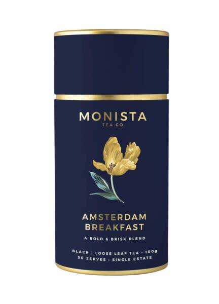 Navy Blue canister with yellow tulip