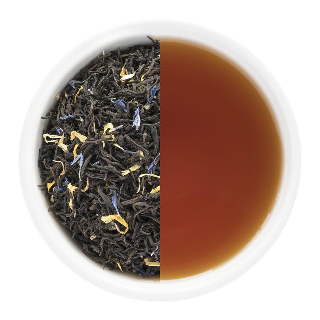 French Earl Grey loose leaf tea and brewed tea