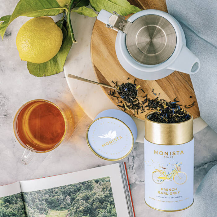 French Earl Grey tea canister with book teapot and lemon