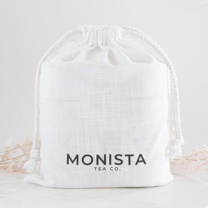 White Muslin bag with Monista brand