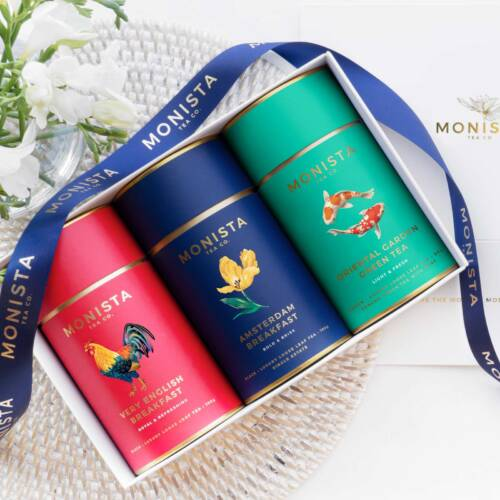 three tea canisters in a gift box