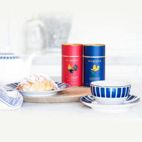 blue tea cup and saucer