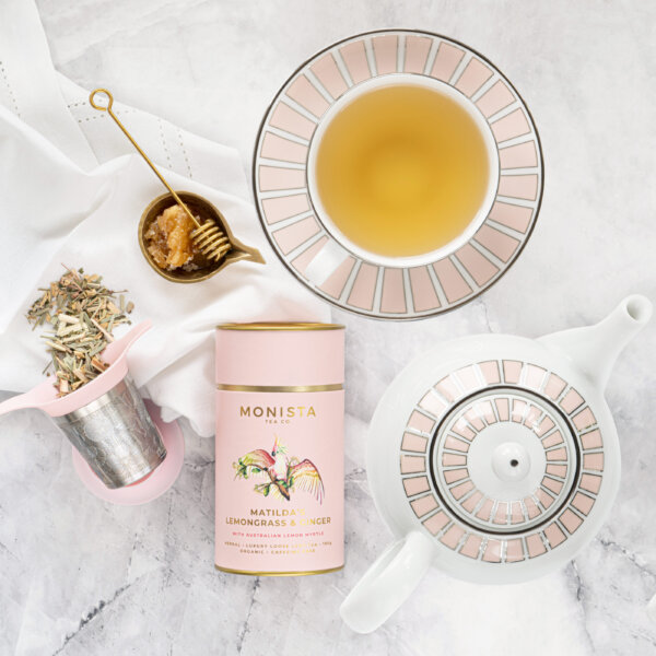 Coote& Co Teapot and teacup with Matilda's Lemongrass and Ginger Tea
