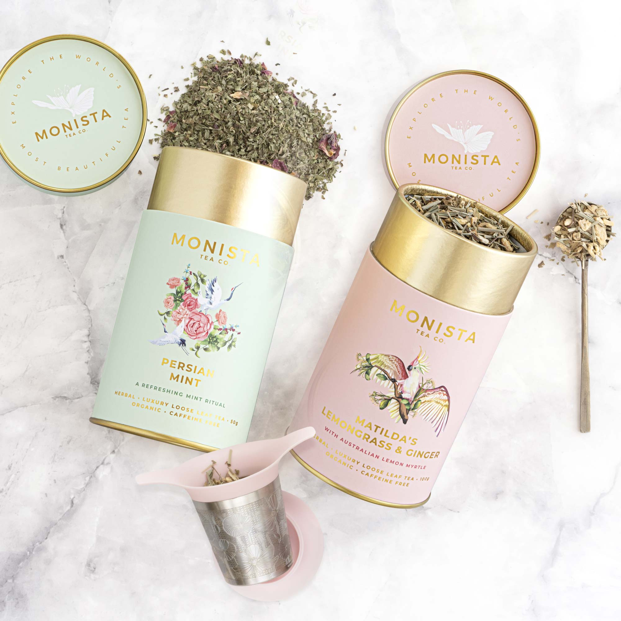 persian mint canister and lemongrass and ginger canister